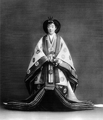 Empress Kōjun wearing a jūnihitoe for ...
