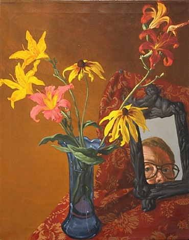 beal-selfPortrait_wiRudbeckias_and_daylilies