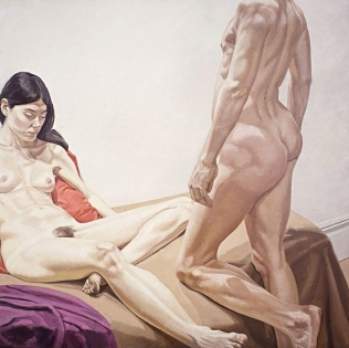 Pearlstein_Male_and_Female_Nudes_with_Red_and_Purple_Drape